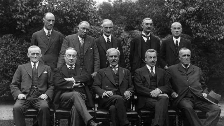August 1931: Cabinet ministers of the 'National Government' Back row (left to right): C Lister, J Thomas, Rufus Isaacs, (Lord Reading), Neville Chamberlain and S Hoare (Viscount Templewood). Front row (left to right): P Snowdon, Stanley Baldwin, prime minister Ramsay MacDonald, H Samuel and Lord Stanley