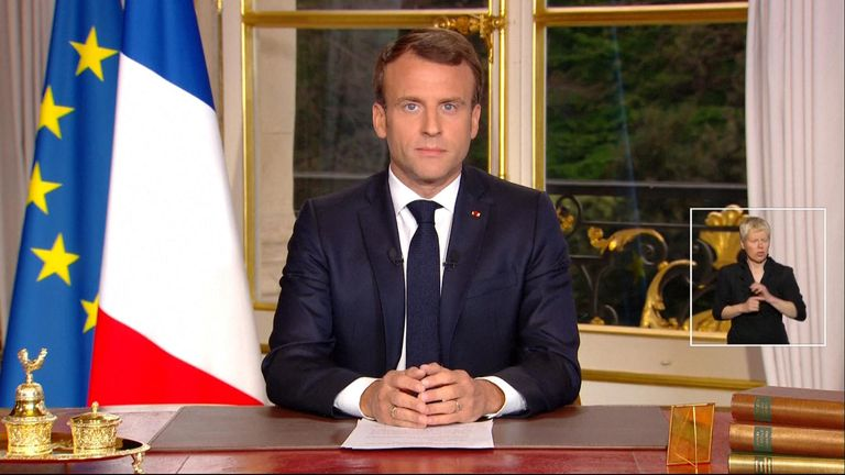 Macron gave an address on television