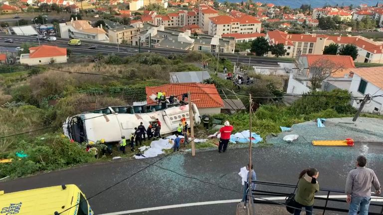 Reports suggest up to 28 people have died in a coach accident in Madeira.