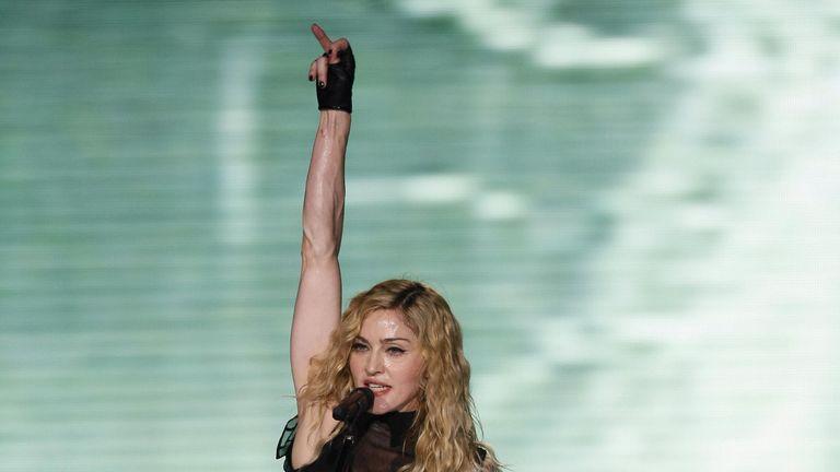 Madonna performing in Tel Aviv in 2009