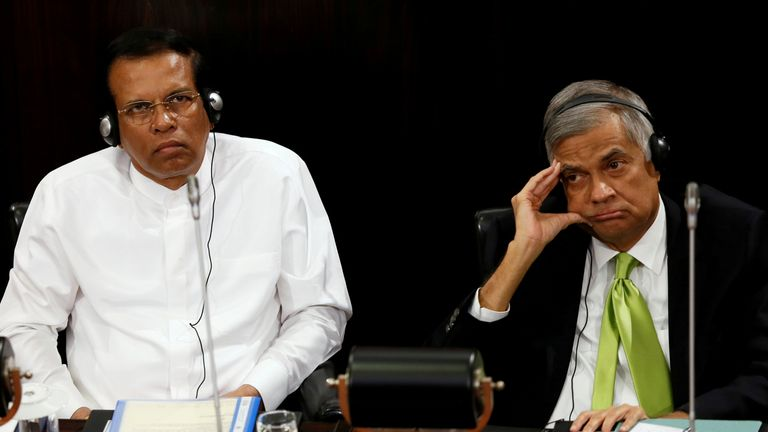 Sri Lanka's president Maithripala Sirisena, left, with the country's prime minister Ranil Wickremesinghe