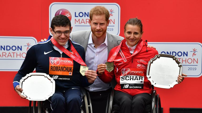 Prince Harry hands out medals at 2019 London Marathon