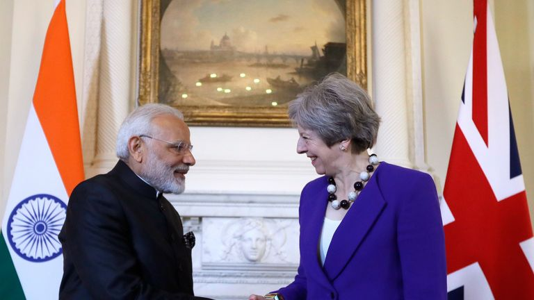Theresa May (R) and Narendra Modi met at 10 Downing Street in April 2018, on the sidelines of the Commonwealth Heads of Government meeting (CHOGM)