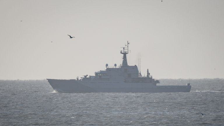 HMS Mersey patrols the Strait of Dover