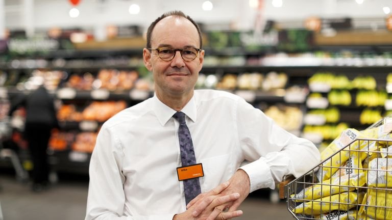 Mike Coupe, CEO of Sainsbury's poses in a store in Redhill 27/3/18