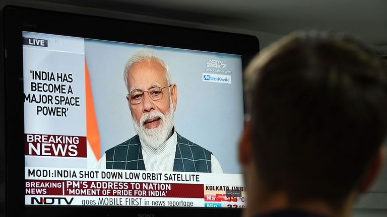 Narendra Modi's address to the nation on a local news channel in New Delhi on March 27, 2019