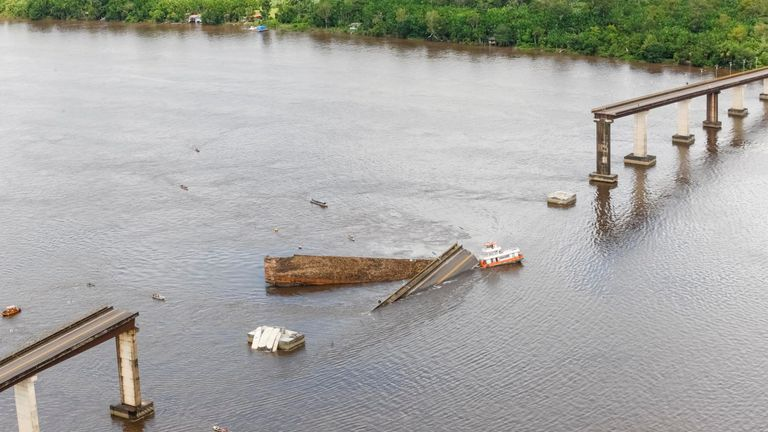 A bridge over the Moju River is seen after collapsing and potentially affecting shipments of grains, such as soybeans and corn through northern ports at Alca Viaria complex in the Highway PA-483 in Acara, Para state, Brazil April 6, 2019