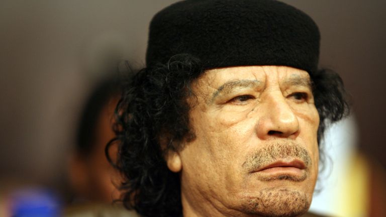 DAMASCUS, SYRIA- MARCH 29: Libya's President Muammar Gaddafi looks on at the opening of the two-day Arab Summit in Damascus, Syria March 29, 2008. The Arab summit will be held in the Syrian capital from March 29-30. (Photo by Salah Malkawi/ Getty Images)