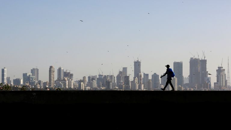 The skyline of central Mumbai's financial district