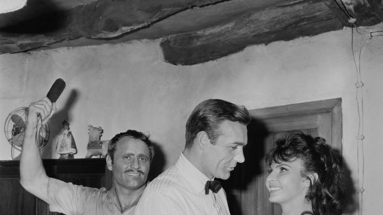 Nadja Regin  with Sean Connery on the set of Goldfinger