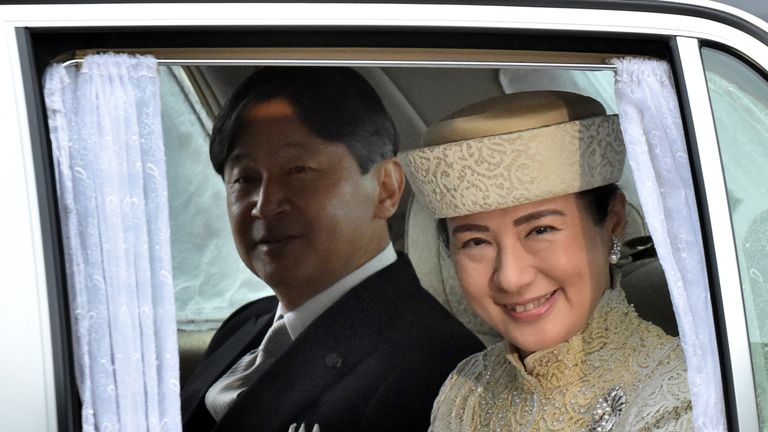 Crown Prince Naruhito and Crown Princess Masako arrive for the abdication ceremony