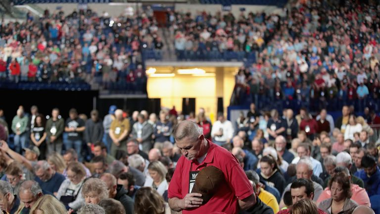 Members of the National Rifle Association attend the group's annual convention