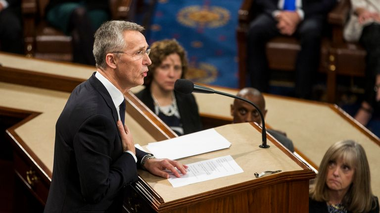 North Atlantic Treaty Organization (NATO) Secretary General Jens Stoltenberg speaks during a joint meeting of U.S. Congress April 3, 2019 at the U.S. Capitol in Washington, DC. Stoltenberg joined foreign ministers of NATO countries in Washington to mark the 70th anniversary of the alliance