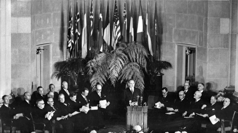 General view taken 04 April 1949 in Washington of the official signing ceremony creating the North Atlantic Treaty Organization (NATO)