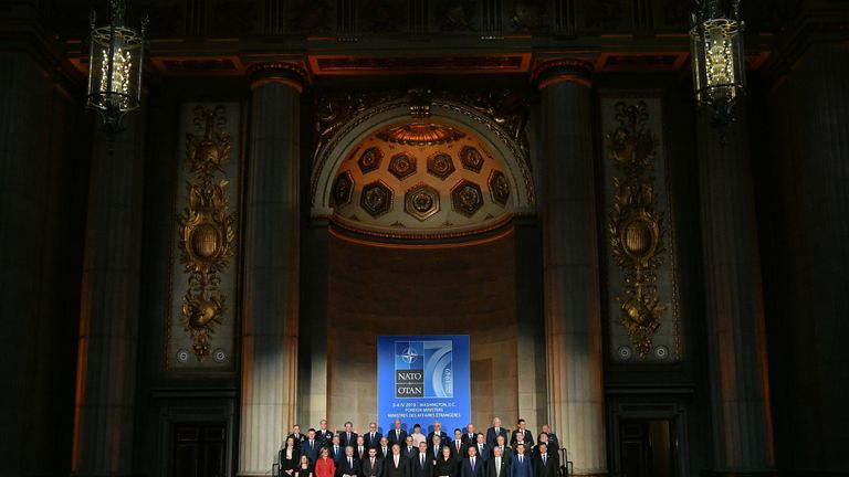 NATO Ministers of Foreign Affairs during a reception celebrating NATO's 70 Anniversary at the Andrew W. Mellon Auditorium in Washington, DC on April 3, 2019
