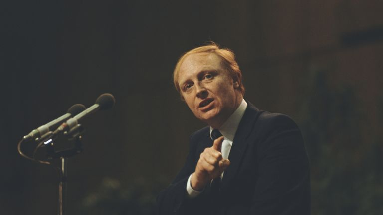 Then-Labour leader Neil Kinnock addresses the Labour Party Conference in 1981