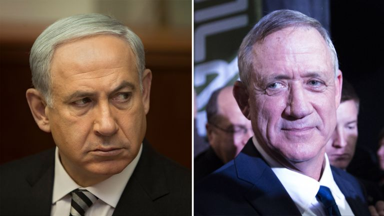Benjamin Netanyahu (left) is being challenged by Benny Gantz