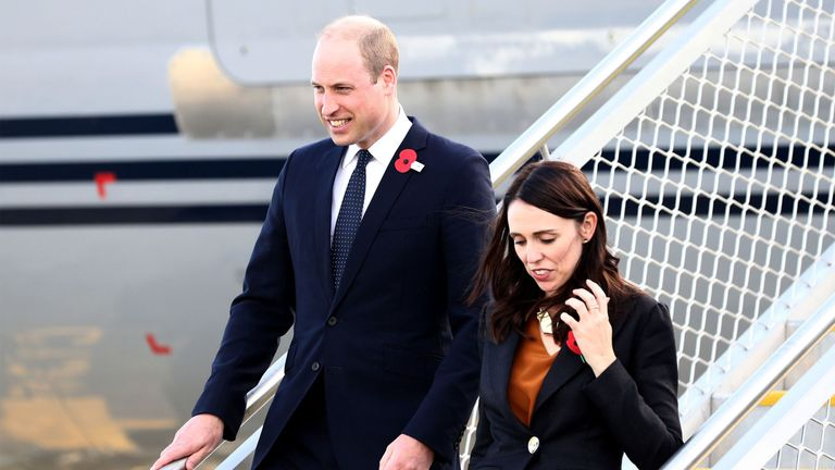 The Duke of Cambridge attended an Anzac Day event with New Zealand's prime minister