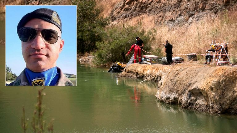 Nicos Metaxas pictured as police search Memi Lake in the village of Xyliantos