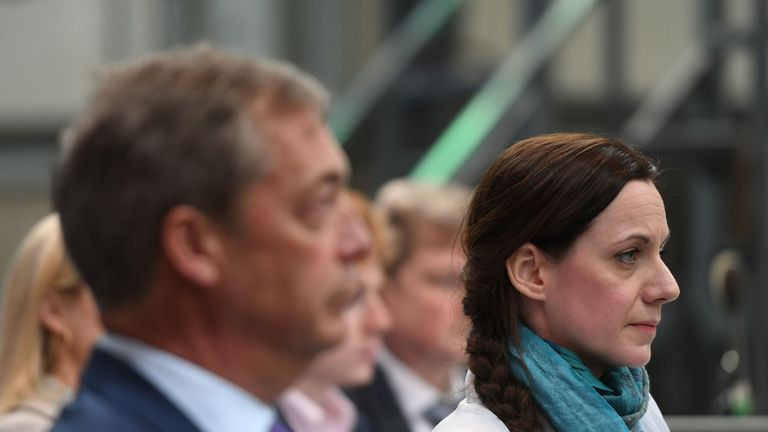 Nigel Farage and Annunziata Rees-Mogg at the launch of the Brexit Party