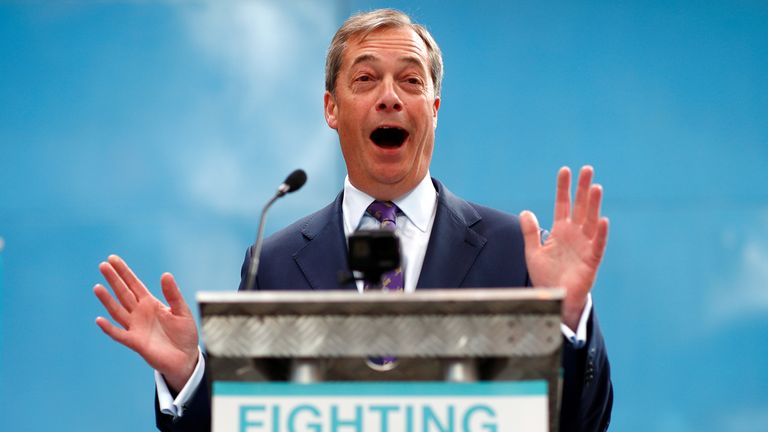Nigel Farage speaks at the launch of the newly created 'Brexit Party'