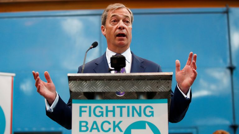 Nigel Farage speaks at the launch of the newly created 'Brexit Party' campaign for the European elections