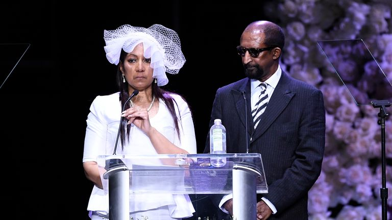 Nipsey Hussle's parents at his memorial