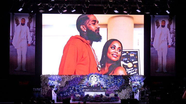 Nipsey Hussle's memorial featured pictures from throughout his life