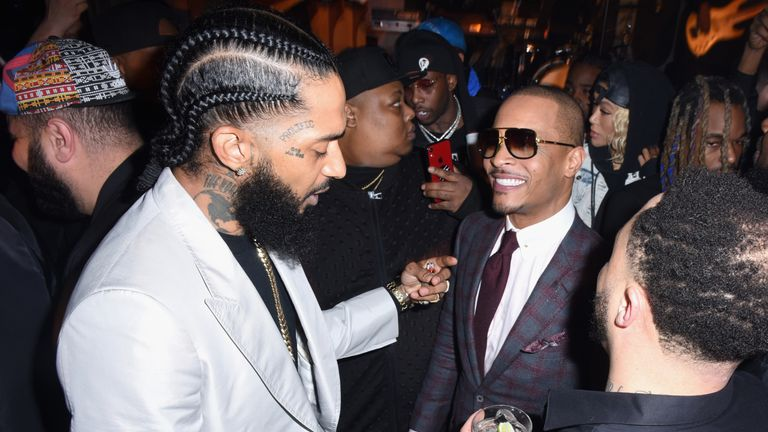 Nipsey Hussle (L) and T.I. attend the PUMA x Nipsey Hussle 2019 Grammy Nomination Party at The Peppermint Club on January 16, 2019