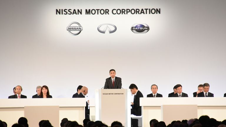 Nissan Motor Co. Chief Executive Hiroto Saikawa and other senior officials attend the company's extraordinary shareholders' meeting in Tokyo, Japan, April 8, 2019, in this handout photo released by Nissan Motor Co. PIC: Nissan