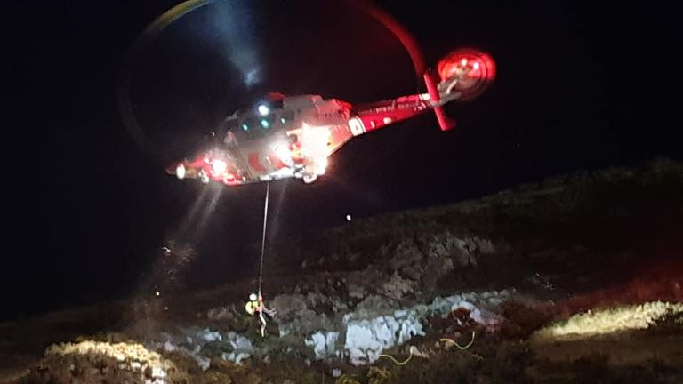 One of the men was airlifted to hospital. Pic: North Berwick Coastguard Rescue Team