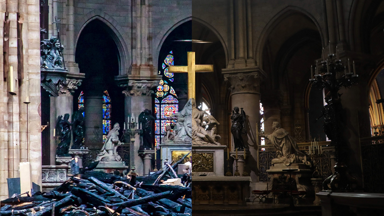 Before and after a huge fire broke out in the Notre-Dame