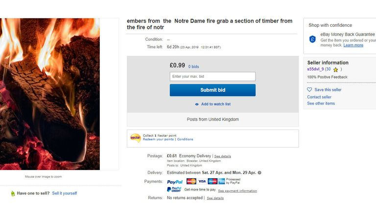 The advert included a generic photograph of a burning log and bidding began at 99p