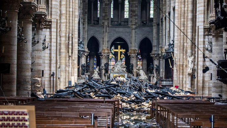 The damage caused by the fire inside the Notre-Dame