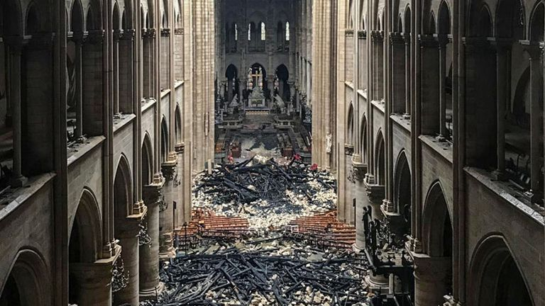 The inside of Notre-Dame after the fire