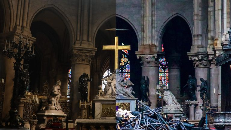 Before and after the fire took hold of Notre-Dame