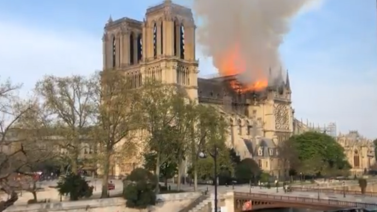 Notre Dame cathedral is on fire. Pic: Twitter/ Shiv Malik