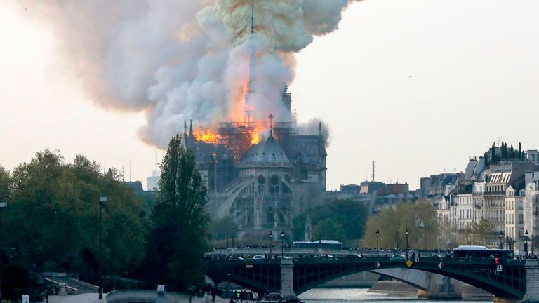 Thick plumes of smoke were seen in the sky in Paris