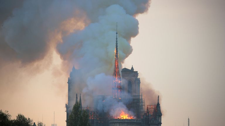 A fire has broken out at the famous Notre-Dame cathedral in Paris.