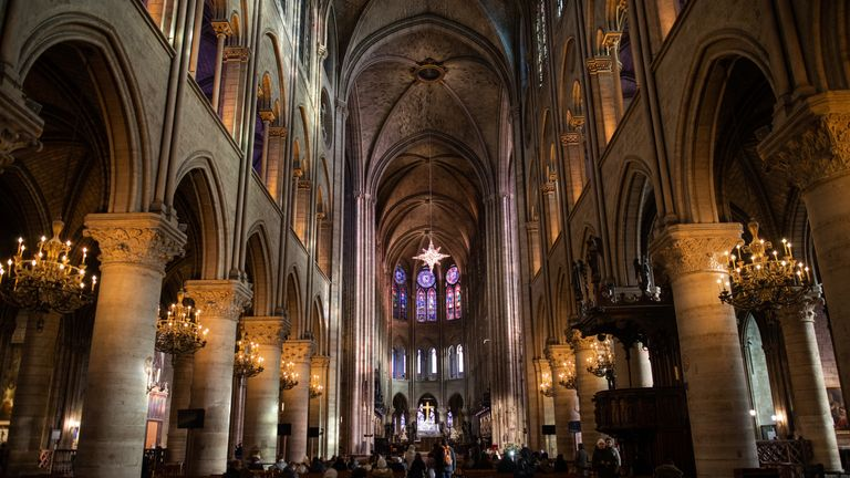 A file picture of inside the iconic Notre-Dame cathedral taken before the fire broke out