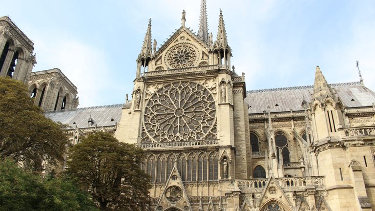 A picture of the Notre-Dame cathedral taken before a fire broke out at the iconic tourist attraction in Paris