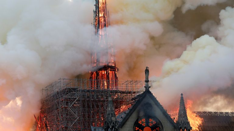 The spire at the iconic Notre Dame cathedral in Paris has collapsed