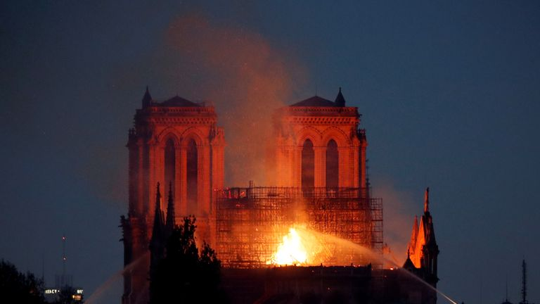 The roof of the Notre-Dame has caved in after a devastating fire.