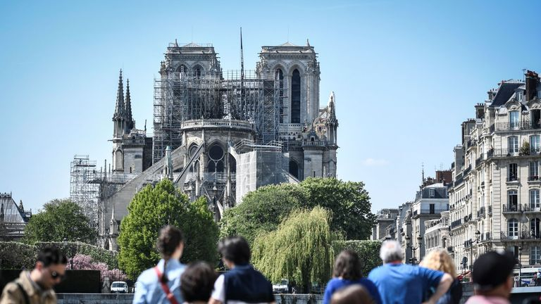 Notre-Dame Cathedral in central Paris after a fire destroyed the roof and caused the steeple to collapse.