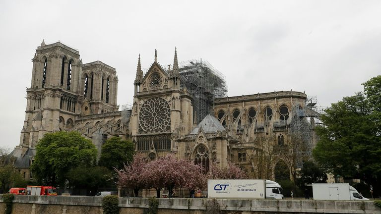 An after picture of the fire at Notre-Dame