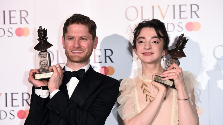 Kyle Soller with the award for Best Actor and Patsy Ferran with the award for Best Actress during The Olivier Awards with Mastercard at the Royal Albert Hall on April 07, 2019