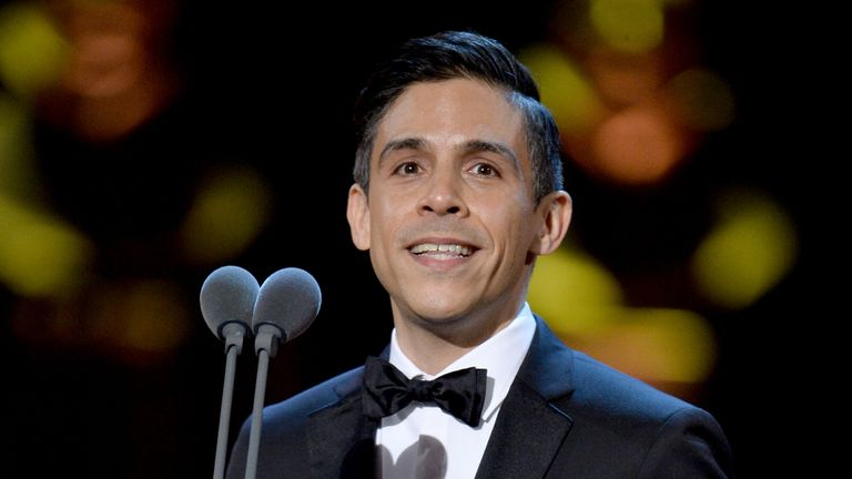 Matthew Lopez, accepting the Best New Play award for 'The Inheritance' on stage during The Olivier Awards 2019 with Mastercard at the Royal Albert Hall on April 07, 2019