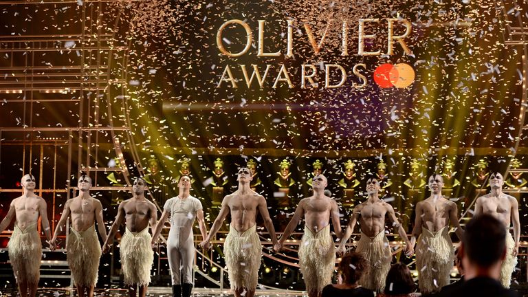 A performance of Swan Lake at The Olivier Awards at the Royal Albert Hall on April 07, 2019