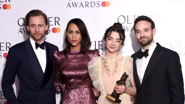 Patsy Ferran (second right) winner of the Best Actress award for 'Summer And Smoke' with presenters Tom Hiddleston, Zawe Ashton and Charlie Cox during The Olivier Awards with Mastercard at the Royal Albert Hall on April 07, 2019
