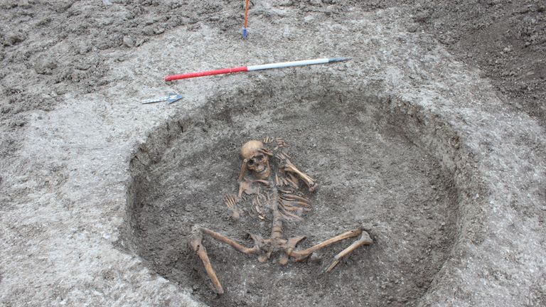 One of the 26 skeletons discovered by Thames Water at an ancient settlement in Oxfordshire